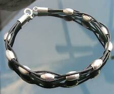 Black Genuine Leather Cord Bracelet with 925 Silver Clasp and 925 Beads