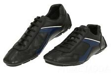 NEW PRADA MEN'S BLACK BLUE LEATHER LACE-UP LOGO SNEAKERS DRIVER SHOES 9/US 10