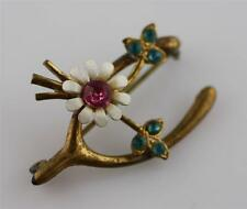Vintage Victorian lucky wishbone gold tone flower pin brooch pink blue stones