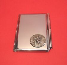 St Christopher Chrome Notebook / Card Holder & Pen Travel Gift Christmas Gift