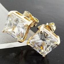FS998 GENUINE 18K YELLOW G/F GOLD SOLID PRINCESS DIAMOND SIMULATED STUD EARRINGS