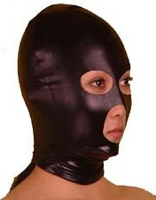 Black Spandex Latex Mask fancy dress Hood, wet look PVC eye and big mouth holes