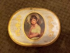 Vintage Wood Trinket Jewelry Box Oval Hand Painted Little Girl Not Working Gold