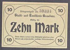 Graudenz -Stadt und Landkreis- Notgeldschein zu 10 Mark vom 21.10.1918