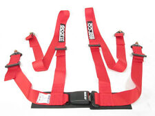 Sparco Racing Seat Belt Safety Harness Street Tuner Red 2-Inch 4-Point Bolt-In