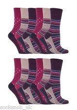 12 Pairs Womens Sockshop Gentle grip socks 4-8 uk,37-42 Stripe Dot Pink GG55