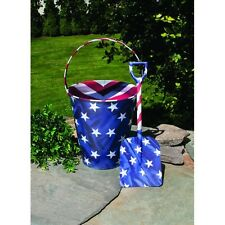 Vintage Look Tin FOOD SAFE  Beach SAND PAIL Bucket w Shovel Patriotic AMERICANA