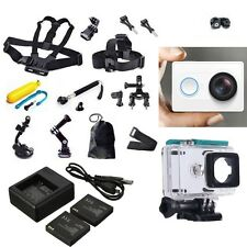 White XiaoMi Yi Sports Camera+Accessories Kit+Dual charger Battery Case Belt UK