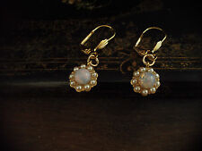 Vintage Fire Opal and Seed Pearl Drop Hook Pierced Earrings Gold Plated