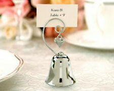 60 Silver Kissung Bell Name Card Holder Wedding table bomboniere gift Heart Loop