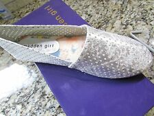 NEW STEVE MADDEN MADDEN GIRL SWOOOP SILVER FLATS SHOES WOMENS 9 FREE SHIP