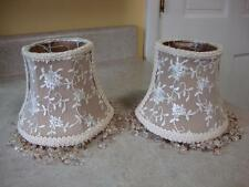 Pr of Small English Silk & Lace w Crystals Vanity Lamp Shades