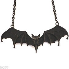 NEW Big Black BAT Wing Metal Necklace Pendant Gothic Vampire Necklace Gothic