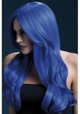 Khloe Wig Neon Blue Long Wave New Adult Halloween Cristmas Womens Accessories