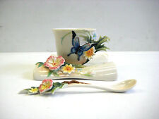 FRANZ PORCELAIN FLUTTERING BEAUTY FLOWER & BUTTERFLY CUP SAUCER SPOON SET #1838