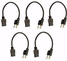 (5) Pack of C13 to US Outlet AC Power Cord 1' Foot Short 18AWG for PC Computer