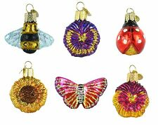 SPRING MINI GARDEN SET of 6 Glass Ornament Old World Christmas Ladybug Butterfly