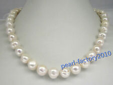 "natural 18"" AAA 11-12 MM SOUTH SEA NATURAL White PEARL NECKLACE 14K GOLD  CLASP"