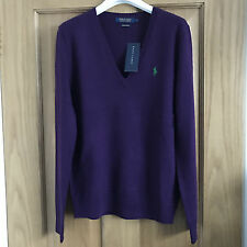 BNWT Ralph Lauren Polo Ladies Merino Wool V Neck Jumper Purple Size M RRP £125