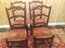 Set Of 4 Antique Country French Ladder Back Dining Chairs With Rush Seats 1800s