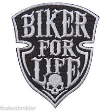 Biker For Life Skull Rider Motorcycle Ride Live Free Tattoo Iron-On Patches B016
