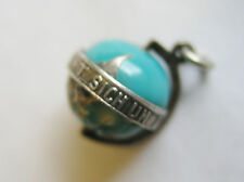 Vintage German Silver Enamel Spinning Globe Charm ~ World Spins Around Love!