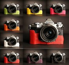 Genuine Real Leather Half Camera Case Bag for Olympus OMD EM5 EM5 II 8 Colors