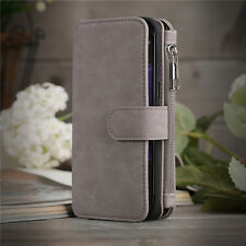 For Samsung Galaxy Note 5 Genuine Leather Wallet Zipper Flip Card Case Cover