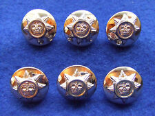 6 X ROYAL CORPS OF TRANSPORT 19MM GOLD MILITARY BUTTONS, IDEAL FOR BLAZER