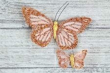 36 Large & Small Real Feather Butterflies Butterfly Florist Wire Wedding Cakes
