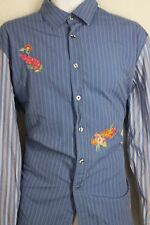 Paul Smith Blue Striped Floral French Cuff Dress Casual Shirt Large NO6