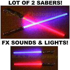 LOT OF 2 STAR WARS FX SOUND LIGHTSABER LIGHT SABER SWORD TOY BEST PRICE!!!