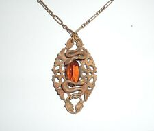 Antique Brass Faceted Amber Glass Deco Necklace Snakes Serpents Egyptian T