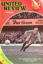 Manchester United v Ipswich Town  21 March 1981  Football Programme