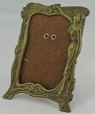 VINTAGE ART NOUVEAU SMALL PICTURE FRAME BRASS OR METAL ALLOY NYMPH & FLOWER