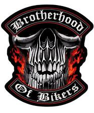 Brotherhood of Bikers Skull Flames Embroidered Back Patch Iron or Sew HLPM12012