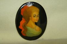 Vintage Collectible Russian Lacquer Palekh Woman Brooch Hand Painted