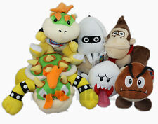 6pcs Super Mario Bros King Koopa Bowser & Boo Ghost & Goomba & Blooper Plush Toy