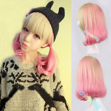 blonde pink mix womens wig cosplay party short curly wave lolita hair full wig