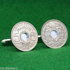 French Coin Cufflinks,  Pre-1921 5 Centimes France Third Republic
