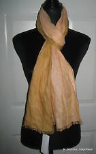 EILEEN FISHER SAFFRON/CURRY FRINGED OMBRE LINEN/SILK SCARF WRAP NWT $98