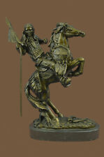 Native American Indian Horseback Warrior Signed Original Bronze Art Sculpture