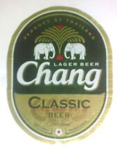 Chang classic ( NEW style Big ) Beer bottle label from Thailand