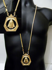 Gold Tn Hip Hop Iced Out Franco Chain Pharoah King Tut Pendant Egyptian Franco
