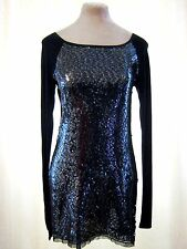 Next Black Sequin Sparkle long sleeved bodycon Wiggle Mini Dress Long Top