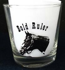"""BOLD RULER REAL PHOTO ON NICE """"ON THE ROCKS"""" STYLE HORSE RACING GLASS!"""
