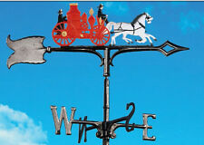 Antique Fire Wagon Weathervane-Fireman Horses - Free Rooftop Mount with Arrow