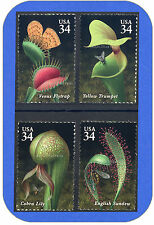 2001  CARNIVOROUS PLANTS  Complete  SET of 4  MINT 34¢ Stamps  Cat # 3528 - 3531