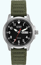 Citizen Eco Drive Men's Stainless Steel Green Canvas Strap Watch BM8180-03E