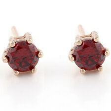 Womens Childrens Rose Gold Plated Punk Round Retro Red Garnet Stud Earrings Lot
